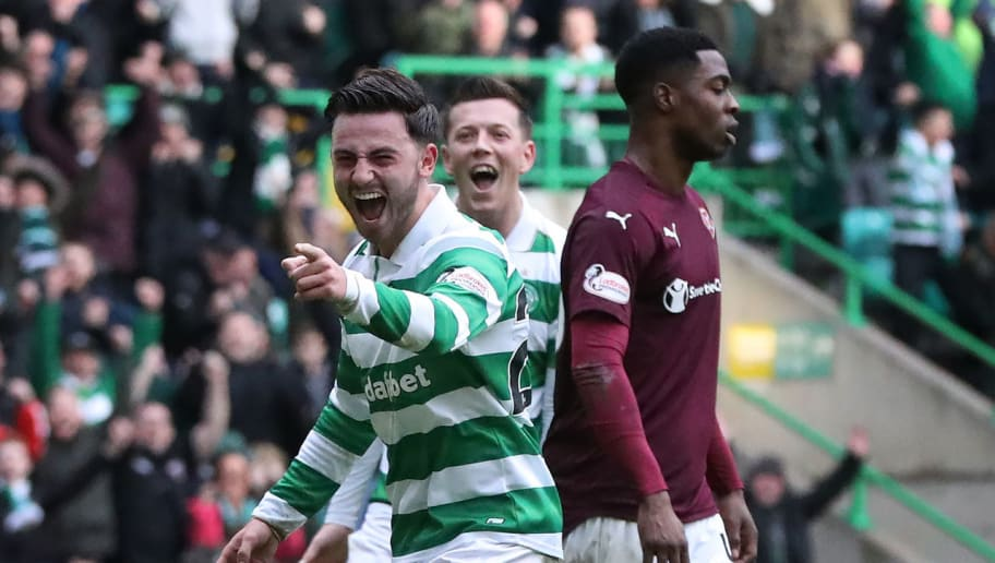 GLASGOW, SCOTLAND - JANUARY 29:  Patrick Roberts of Celtic celebrates scores the third goal during the Ladbrokes Scottish Premiership match between Celtic and Heart of Midlothian at Celtic Park Stadium on January 29, 2017 in Glasgow, Scotland. (Photo by Ian MacNicol/Getty Images)