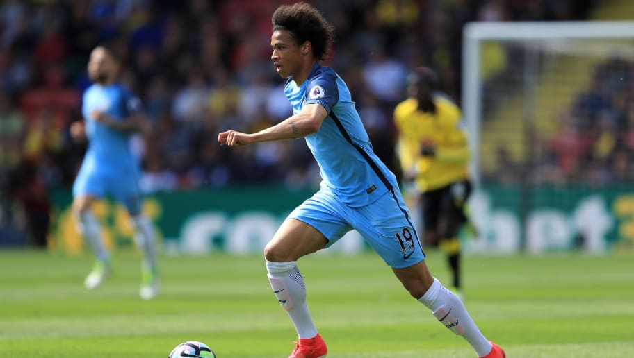 WATFORD, ENGLAND - MAY 21:  Leroy Sane of Manchester City in action during the Premier League match between Watford and Manchester City at Vicarage Road on May 21, 2017 in Watford, England.  (Photo by Richard Heathcote/Getty Images)