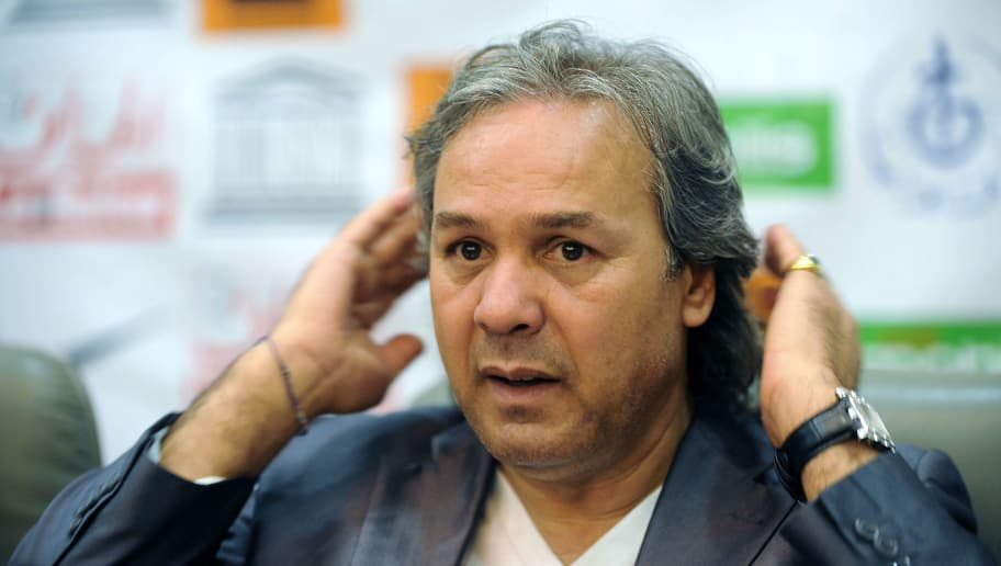 Algerian former football player and UNESCO Goodwill Ambassador Rabah Madjer gestures during a press conference on April 23, 2012 in Algiers, ahead of a football charity match for children of Africa between former Algerian football stars and former international players. AFP PHOTO / FAROUK BATICHE (Photo credit should read FAROUK BATICHE/AFP/Getty Images)