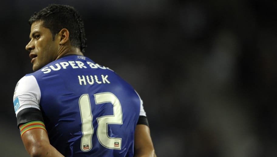FC Porto's Brazilian forward Givanildo de Souza 'Hulk' turns around on August 25, 2012 during a Portuguese Super League football match against Vitoria at the Dragao Stadium in Porto.                      AFP PHOTO / MIGUEL RIOPA        (Photo credit should read MIGUEL RIOPA/AFP/GettyImages)