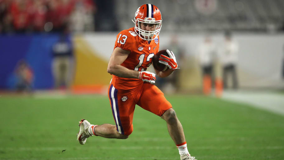 GLENDALE, AZ - DECEMBER 31:  Hunter Renfrow #13 of the Clemson Tigers runs with the ball against the Ohio State Buckeyes during the 2016 PlayStation Fiesta Bowl at University of Phoenix Stadium on December 31, 2016 in Glendale, Arizona.  (Photo by Matthew Stockman/Getty Images)