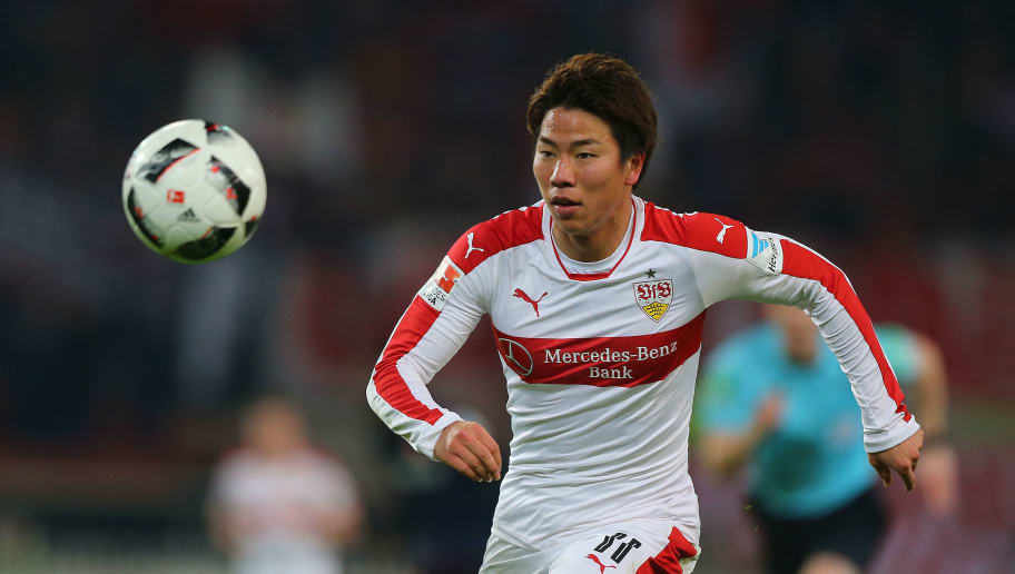 STUTTGART, GERMANY - FEBRUARY 06:  Takuma Asano of Stuttgart runs with the ball during the Second Bundesliga match between VfB Stuttgart and Fortuna Duesseldorf at Mercedes-Benz Arena on February 6, 2017 in Stuttgart, Germany.  (Photo by Thomas Niedermueller/Bongarts/Getty Images)