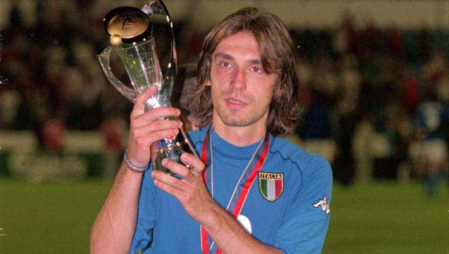4 Jun 2000:  Andrea Pirlo of Italy celebrates after the European Championships Under 21 Final against Czech Republic at the Slovan Stadium, Bratislava, Slovakia. Italy won 2-1. \ Mandatory Credit: Phil Cole /Allsport