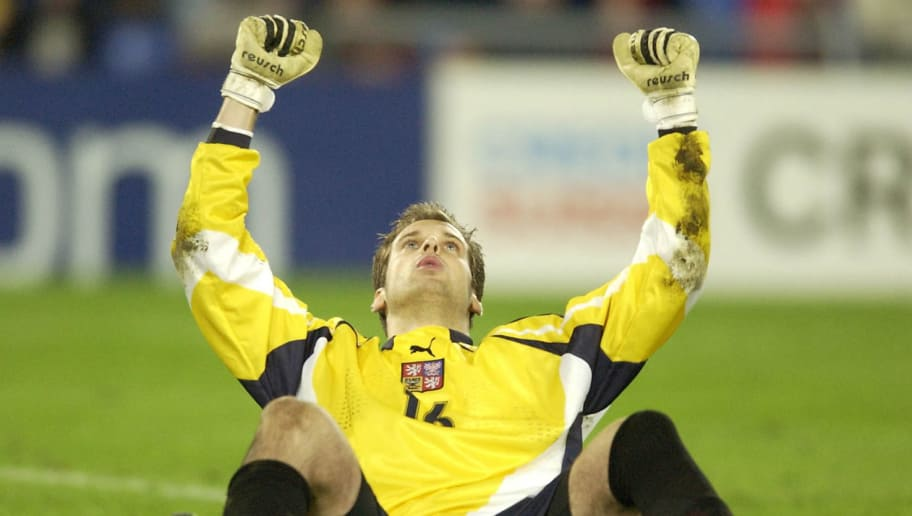 28 May 2002:   Czech Republic Keeper Petr Cech celebrates after saving France's final penalty during the European Under 21's Final Tournament, Final game between France v Czech Republic at the St. Jakob Park Stadium, Basel, Switzerland.  DIGITAL IMAGE. Mandatory Credit: Jamie McDonald/Getty Images