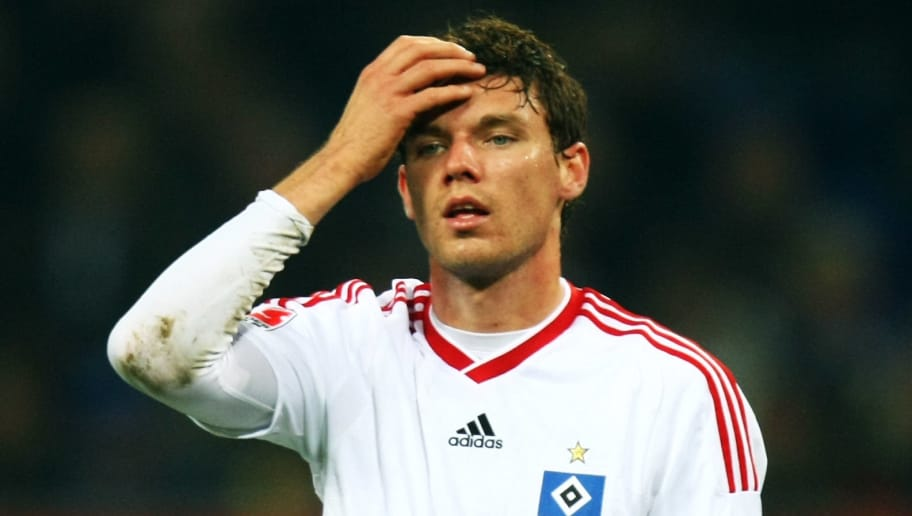 HAMBURG, GERMANY - OCTOBER 31: Marcus Berg of Hamburg reacts during the Bundesliga match between Hamburger SV and Borussia M'gladbach at the HSH Nordbank Arena on October 31, 2009 in Hamburg, Germany. (Photo by Martin Rose/Bongarts/Getty Images)