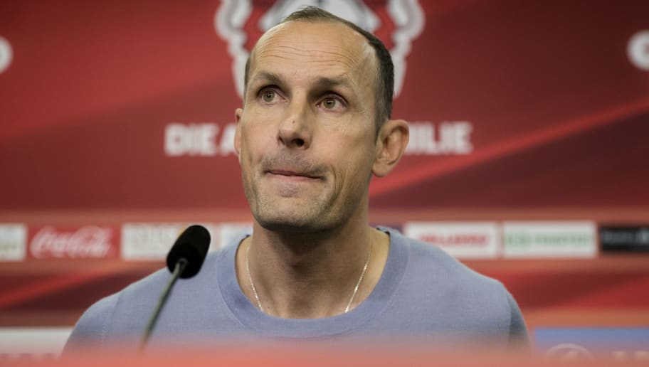 LEVERKUSEN, GERMANY - JUNE 09: The newly appointed head coach of Bayer Leverkusen Heiko Herrlich  looks on during a press conference at BayArena on June 9, 2017 in Leverkusen, Germany. (Photo by Maja Hitij/Bongarts/Getty Images)