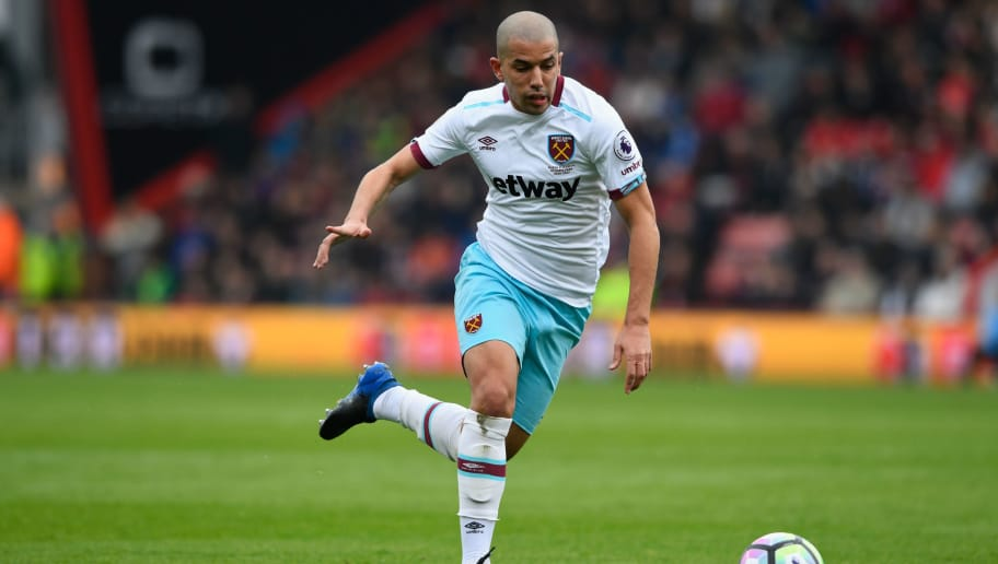 BOURNEMOUTH, ENGLAND - MARCH 11:  West Ham player Sofiane Feghouli in action  during the Premier League match between AFC Bournemouth and West Ham United  at Vitality Stadium on March 11, 2017 in Bournemouth, England.  (Photo by Stu Forster/Getty Images)