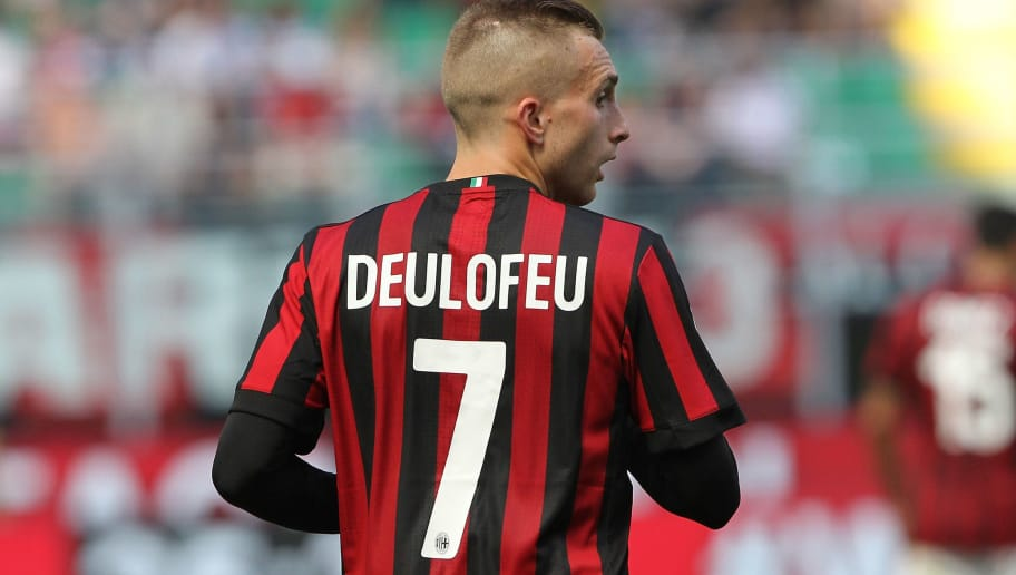 MILAN, ITALY - MAY 21:  Gerard Deulofeu of AC Milan looks on during the Serie A match between AC Milan and Bologna FC at Stadio Giuseppe Meazza on May 21, 2017 in Milan, Italy.  (Photo by Marco Luzzani/Getty Images)