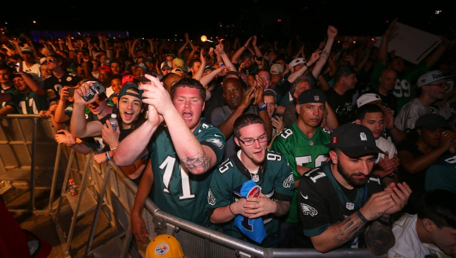 PHILADELPHIA, PA - APRIL 27:  Eagles fans cheer prior to their #14 overall pick by the Philadelphia Eagles (from Vikings) during their during the first round of the 2017 NFL Draft at the Philadelphia Museum of Art on April 27, 2017 in Philadelphia, Pennsylvania.  (Photo by Mitchell Leff/Getty Images)
