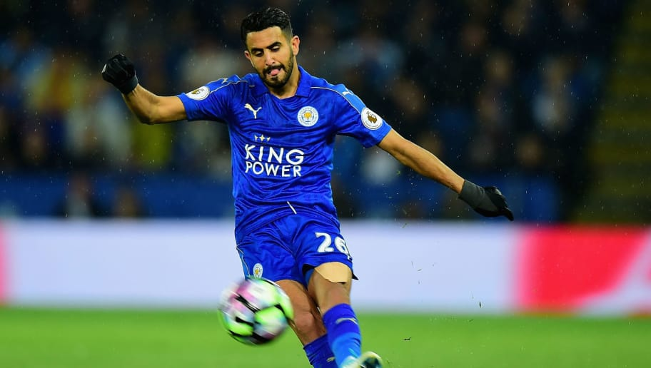 LEICESTER, ENGLAND - MAY 18:  Riyad Mahrez of Leicester City during the Premier League match between Leicester City and Tottenham Hotspur at The King Power Stadium on May 18, 2017 in Leicester, England.  (Photo by Tony Marshall/Getty Images)