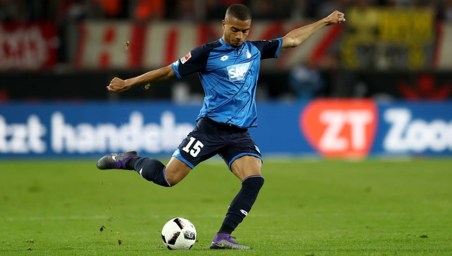 COLOGNE, GERMANY - APRIL 21:  Jeremy Toljan of Hoffenheim runs with the ball during the Bundesliga match between 1. FC Koeln and TSG 1899 Hoffenheim at RheinEnergieStadion on April 21, 2017 in Cologne, Germany.  (Photo by Lars Baron/Bongarts/Getty Images)