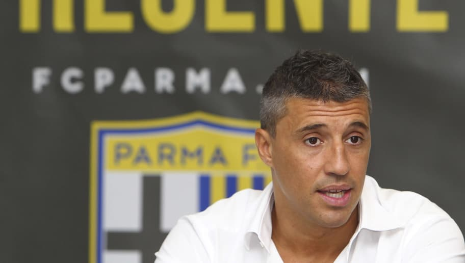 COLLECCHIO, ITALY - JULY 16:  New coach of Parma FC juvenile Hernan Crespo speaks to the media during a press conference at the club's training ground on July 16, 2014 in Collecchio, Italy.  (Photo by Marco Luzzani/Getty Images)