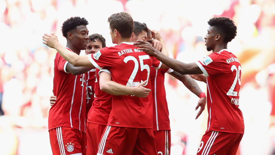 MUNICH, GERMANY - MAY 20:  Players of Bayern Muenchen celebrate a goal during the Bundesliga match between Bayern Muenchen and SC Freiburg at Allianz Arena on May 20, 2017 in Munich, Germany.  (Photo by Alexander Hassenstein/Bongarts/Getty Images)