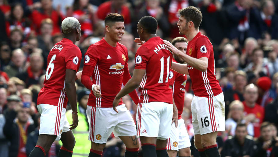 MANCHESTER, ENGLAND - MARCH 04: Marcos Rojo of Manchester United (C) celebrates scoring his sides first goal with his Manchester United team mates during the Premier League match between Manchester United and AFC Bournemouth at Old Trafford on March 4, 2017 in Manchester, England.  (Photo by Julian Finney/Getty Images)