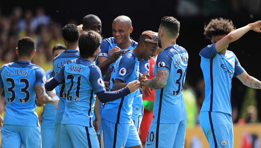 WATFORD, ENGLAND - MAY 21: Fernandinho of Manchester City celebrates scoring his sides fourth goal with his Manchester City team mates during the Premier League match between Watford and Manchester City at Vicarage Road on May 21, 2017 in Watford, England.  (Photo by Richard Heathcote/Getty Images)