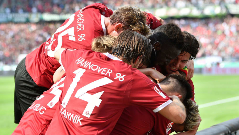 HANOVER, GERMANY - MAY 14:  Felix Klaus of Hannover celebrates scoring his goal during the Second Bundesliga match between Hannover 96 and VfB Stuttgart at HDI-Arena on May 14, 2017 in Hanover, Germany.  (Photo by Stuart Franklin/Bongarts/Getty Images)