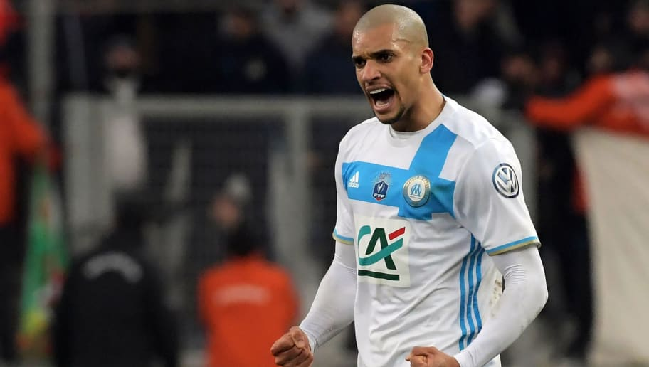 Olympique de Marseille's Brazilian defender Matheus Doria Macedo celebrates after scoring a goal during the French Cup football match between Marseille and Lyon, on January 31, 2017 at the Velodrome stadium in Marseille, southern France. / AFP PHOTO / ANNE-CHRISTINE POUJOULAT        (Photo credit should read ANNE-CHRISTINE POUJOULAT/AFP/Getty Images)