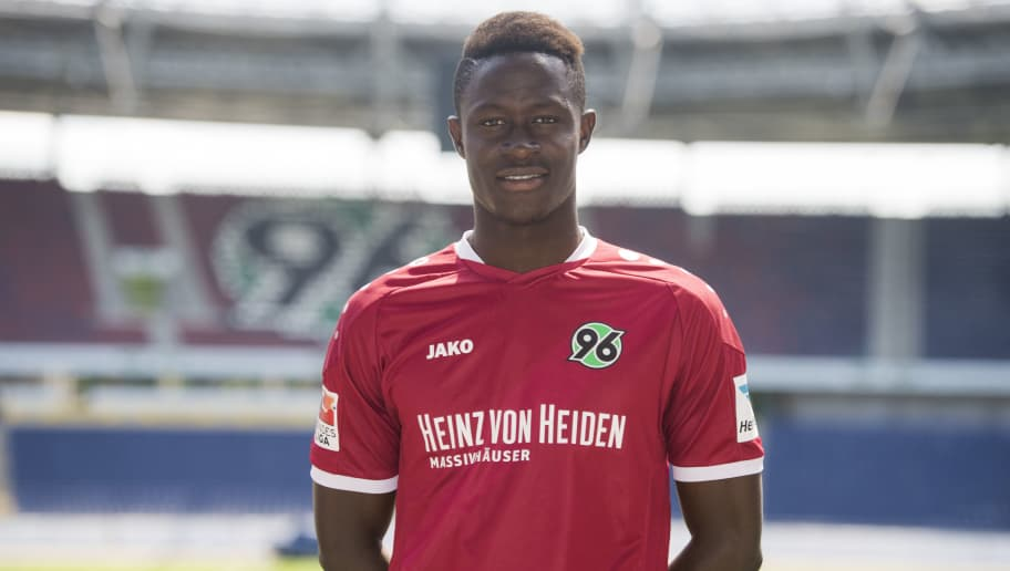 HANOVER, GERMANY - JULY 07:  Babacar Gueye poses during the team presentation of Hannover 96 on July 7, 2016 in Hanover, Germany.  (Photo by Nigel Treblin/Bongarts/Getty Images)