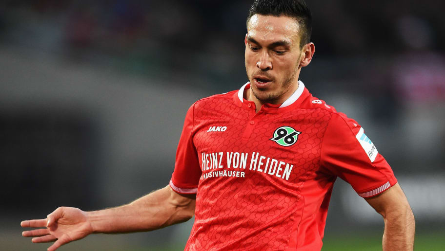 HANOVER, GERMANY - DECEMBER 19:  Mevlüt Erdinc of Hannover in action during the Bundesliga match between Hannover 96 and FC Bayern Muenchen at HDI-Arena on December 19, 2015 in Hanover, Germany.  (Photo by Stuart Franklin/Bongarts/Getty Images)