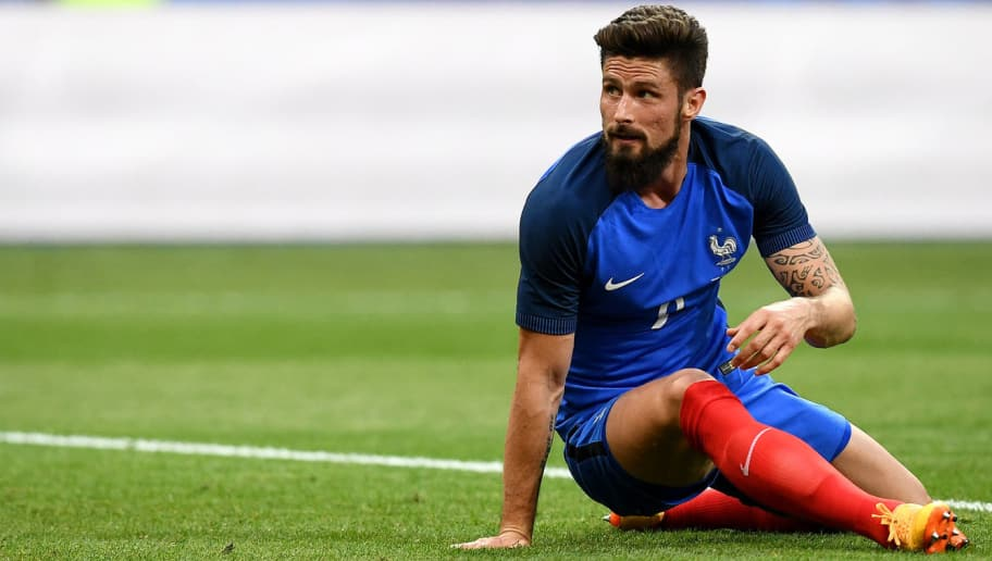 France's forward Olivier Giroud reacts during the friendly  during the friendly football match France vs England on June 13, 2017 at the Stade de France stadium in Saint-Denis, north of Paris.   / AFP PHOTO / FRANCK FIFE        (Photo credit should read FRANCK FIFE/AFP/Getty Images)