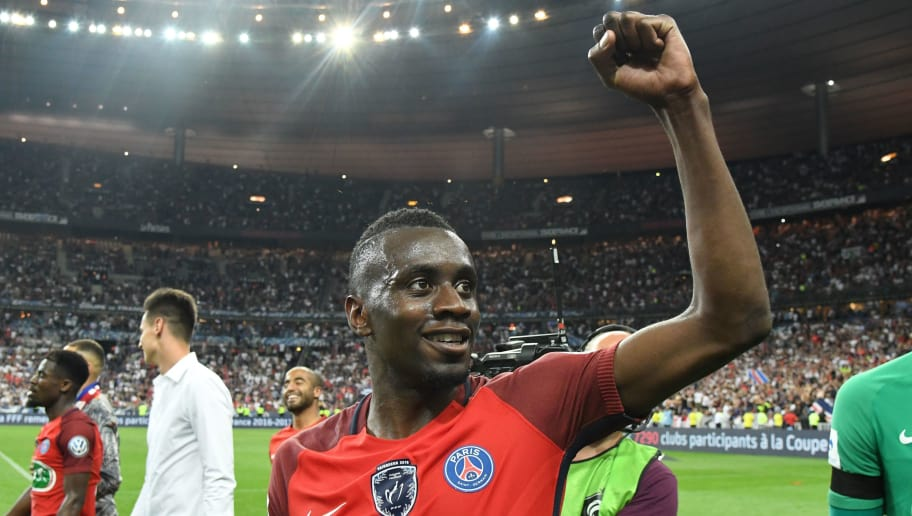 Paris Saint-Germain's French midfielder Blaise Matuidi celebrates after winning  the French Cup final football match between Paris Saint-Germain (PSG) and Angers (SCO) on May 27, 2017, at the Stade de France in Saint-Denis, north of Paris. / AFP PHOTO / Jean-Francois MONIER        (Photo credit should read JEAN-FRANCOIS MONIER/AFP/Getty Images)