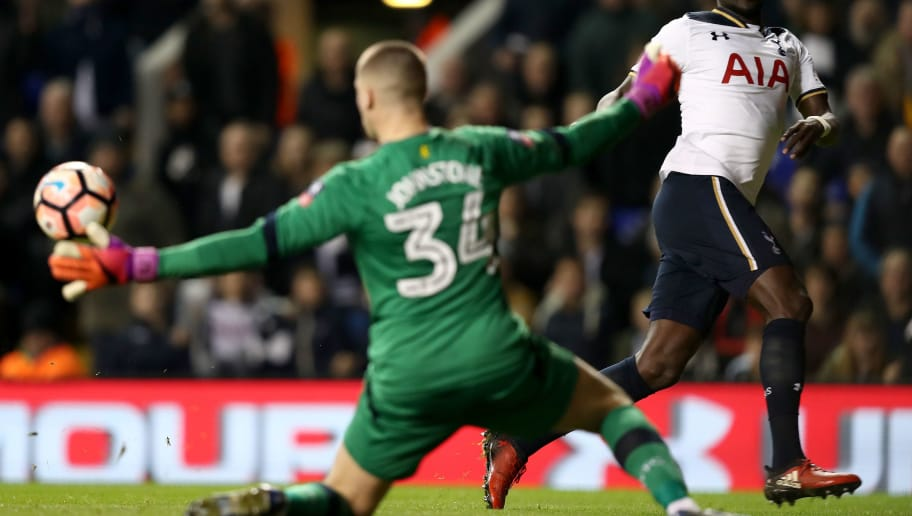 LONDON, ENGLAND - JANUARY 08:  Sam Johnstone of Aston Villa (L) saves a shot from Moussa Sissoko of Tottenham Hotspur (R) during The Emirates FA Cup Third Round match between Tottenham Hotspur and Aston Villa at White Hart Lane on January 8, 2017 in London, England.  (Photo by Clive Rose/Getty Images)
