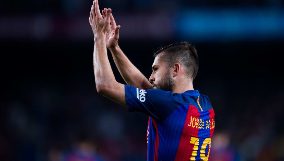 BARCELONA, SPAIN - APRIL 15: Jordi Alba of FC Barcelona applauds to the crowd at the end of the La Liga match between FC Barcelona and Real Sociedad de Futbol at Camp Nou stadium on April 15, 2017 in Barcelona, Spain. (Photo by Alex Caparros/Getty Images)