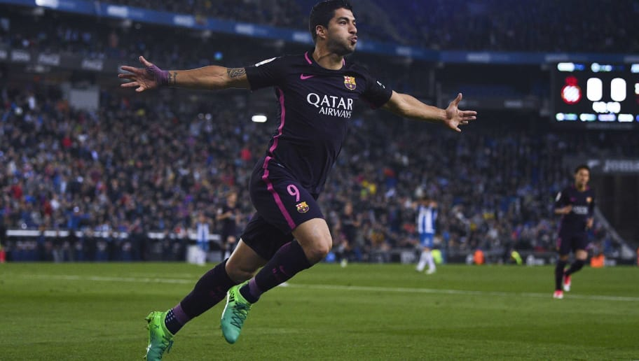 BARCELONA, SPAIN - APRIL 29:  Luis Suarez of FC Barcelona celebrates after scoring the opening goal during the La Liga match between RCD Espanyol and FC Barcelona at the RCDE Stadium on April 29, 2017 in Barcelona, Spaain.  (Photo by David Ramos/Getty Images)