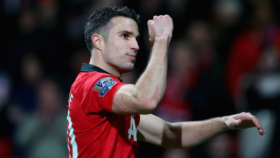 MANCHESTER, ENGLAND - NOVEMBER 10:  Robin van Persie of Manchester United celebrates at the end of the Barclays Premier League match between Manchester United and Arsenal at Old Trafford on November 10, 2013 in Manchester, England.  (Photo by Alex Livesey/Getty Images)
