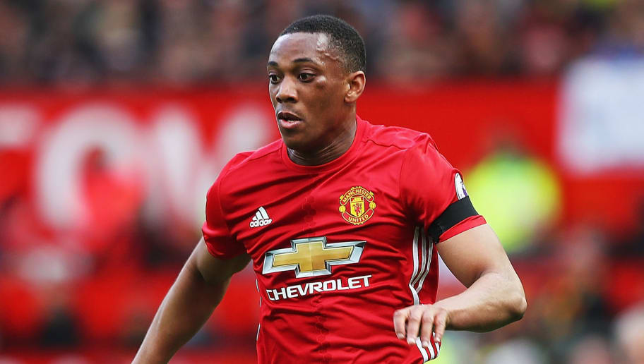 MANCHESTER, ENGLAND - APRIL 01:  Anthony Martial of Manchester United in action during the Premier League match between Manchester United and West Bromwich Albion at Old Trafford on April 1, 2017 in Manchester, England.  (Photo by Matthew Lewis/Getty Images)