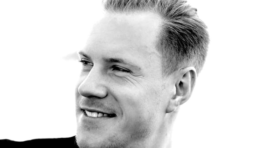 SOCHI, RUSSIA - JUNE 27:  (EDITORS NOTE: Image has been converted to black and white.) Keeper Marc-Andre ter-Stegen of Germany talks to the media during a mixed zone press conference prior to a team Germany training session at Park Arena training ground on June 27, 2017 in Sochi, Russia.  (Photo by Alexander Hassenstein/Bongarts/Getty Images)