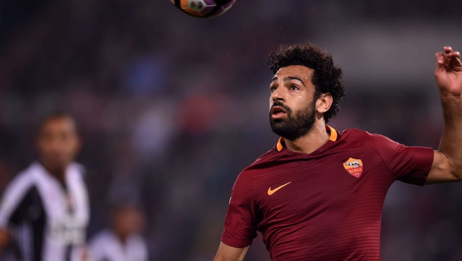 Roma's midfielder from Egypt Mohamed Salah eyes the ball during the Italian Serie A football match Roma vs Juventus, on May 14, 2017 at Rome's Olympic stadium. / AFP PHOTO / FILIPPO MONTEFORTE        (Photo credit should read FILIPPO MONTEFORTE/AFP/Getty Images)