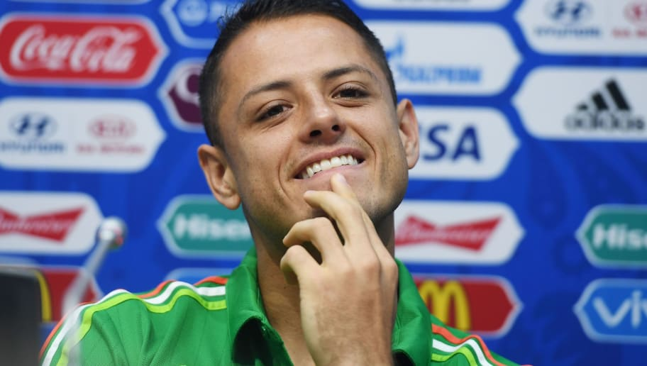 Mexico's forward Javier Hernandez attends a press conference in Sochi on June 28, 2017 on the eve of the Russia 2017 FIFA Confederations Cup football semi-final match Germany vs Mexico. / AFP PHOTO / PATRIK STOLLARZ        (Photo credit should read PATRIK STOLLARZ/AFP/Getty Images)