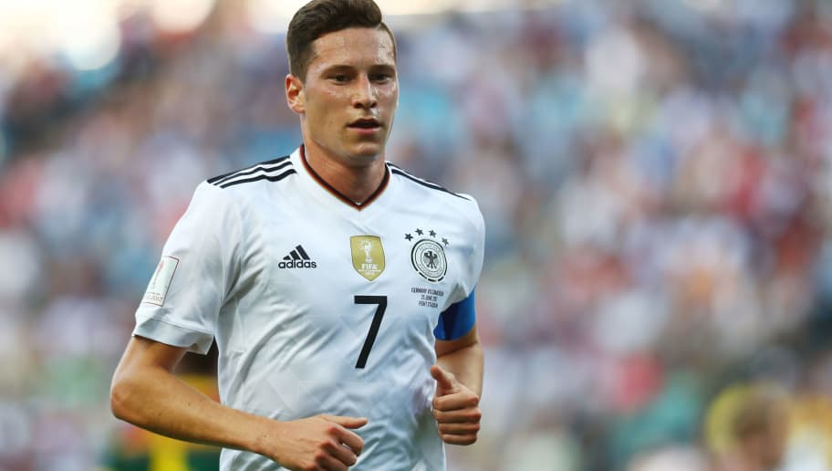 SOCHI, RUSSIA - JUNE 25:  Julian Draxler of Germany looks on during the FIFA Confederations Cup Russia 2017  Group B match between Germany and Cameroon at Fisht Olympic Stadium on June 25, 2017 in Sochi, Russia.  (Photo by Dean Mouhtaropoulos/Getty Images)