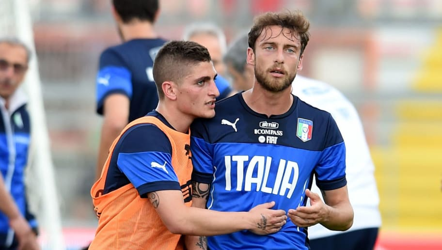 PERUGIA, ITALY - JUNE 03:  Marco Verratti and Claudio Marchisio (R) of Italy during the Italian national sides training session at Stadio Renato Curi on June 3, 2014 in Perugia, Italy.  (Photo by Claudio Villa/Getty Images)