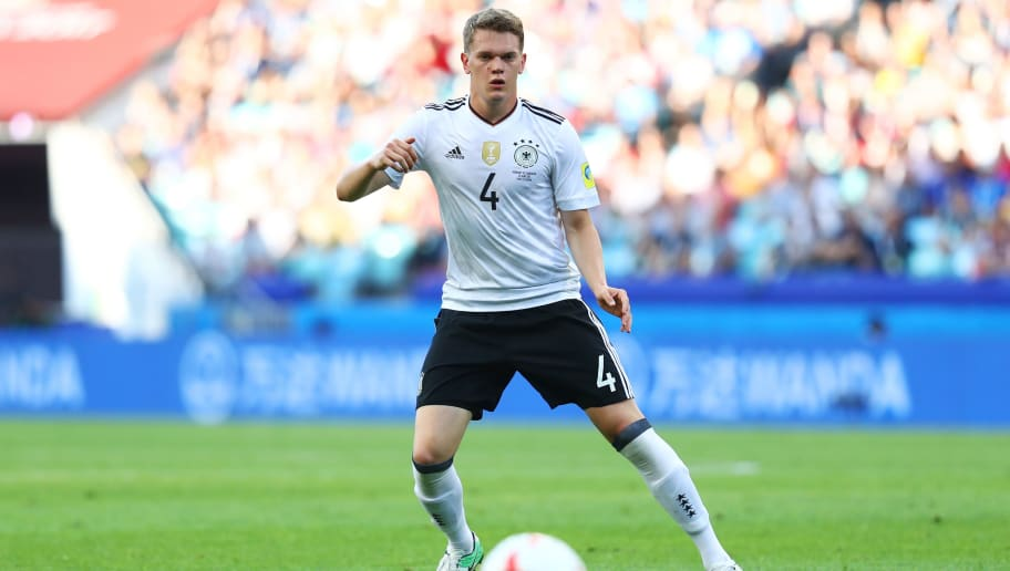 SOCHI, RUSSIA - JUNE 25: Matthias Ginter of Germany in action during the FIFA Confederations Cup Russia 2017  Group B match between Germany and Cameroon at Fisht Olympic Stadium on June 25, 2017 in Sochi, Russia.  (Photo by Dean Mouhtaropoulos/Getty Images)