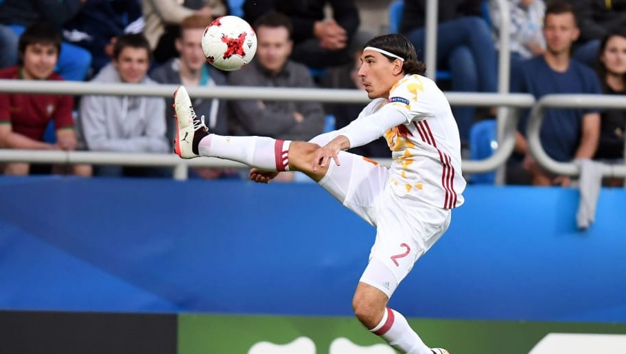 Spain's defender Hector Bellerin Moruno in action during the UEFA U-21 European Championship Group B football match Spain v Portugal in Gdynia, on June 20, 2017.   / AFP PHOTO / Maciej GILLERT        (Photo credit should read MACIEJ GILLERT/AFP/Getty Images)