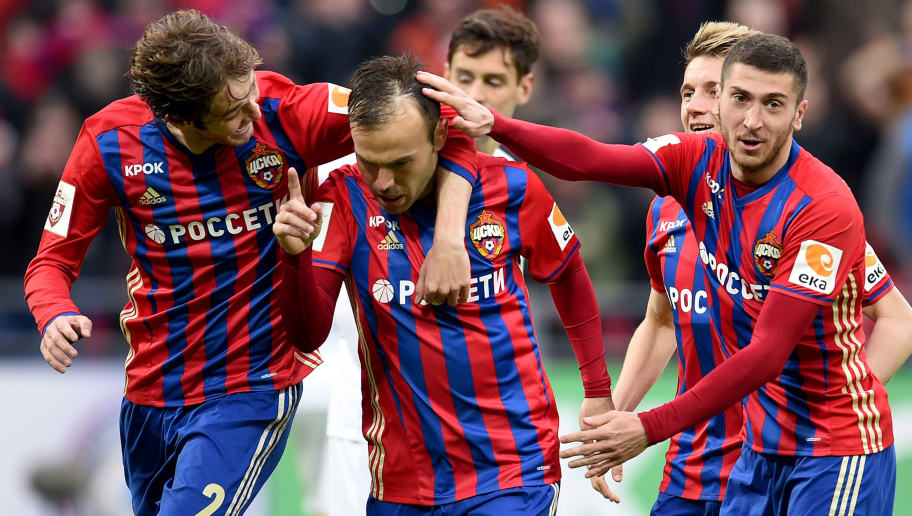 MOSCOW, RUSSIA - APRIL 02: Bibras Natkho (C), Mario Fernandes and Aleksei Ionov of PFC CSKA Moscow celebrate after scoring a goal during the Russian Premier League match between PFC CSKA Moscow and FC Krylia Sovetov Samara at CSKA Arena Stadium on April 02, 2017 in Moscow, Russia. (Photo by Epsilon/Getty Images)