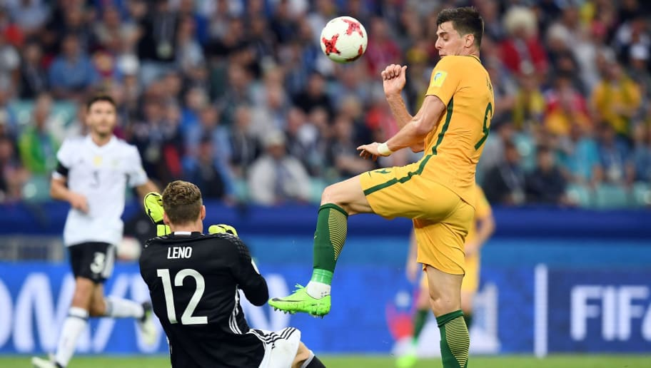 Germany's goalkeeper Bernd Leno reacts to the ball by Australia's forward Tomi Juric during the 2017 Confederations Cup group B football match between Australia and Germany at the Fisht Stadium in Sochi on June 19, 2017. / AFP PHOTO / FRANCK FIFE        (Photo credit should read FRANCK FIFE/AFP/Getty Images)