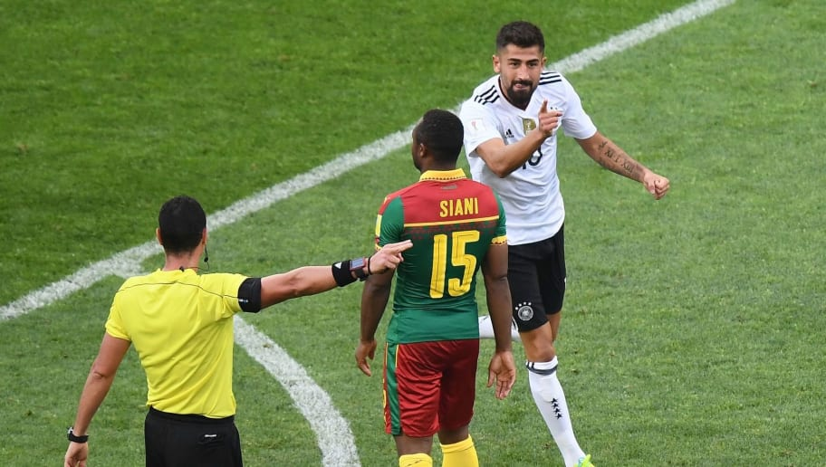 Germany's midfielder Kerem Demirbay (R) celebrates after scoring a goal during the 2017 FIFA Confederations Cup group B football match between Germany and Cameroon at the Fisht Stadium Stadium in Sochi on June 25, 2017. / AFP PHOTO / FRANCK FIFE        (Photo credit should read FRANCK FIFE/AFP/Getty Images)