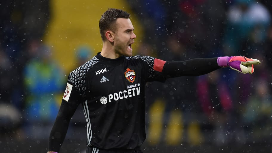 MOSCOW, RUSSIA - NOVEMBER 26: Igor Akinfeev of PFC CSKA Moscow reacts during the Russian Premier League match between PFC CSKA Moscow and FC Rubin Kazan at CSKA Arena Stadium on November 26, 2016 in Moscow, Russia. (Photo by Epsilon/Getty Images)