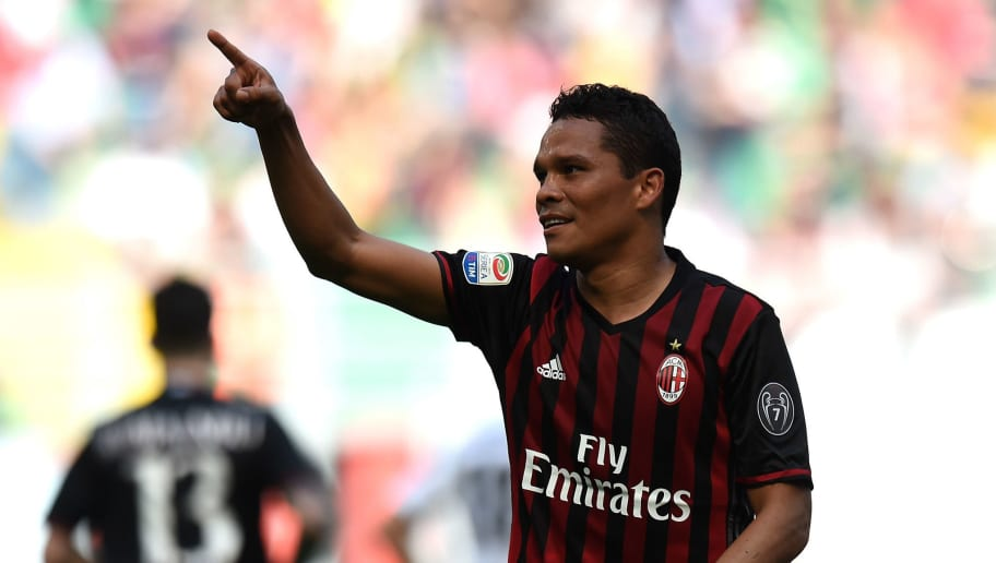 MILAN, ITALY - APRIL 09:  Carlos Bacca of Milan celebrates after scoring his team's third goal during the Serie A match between AC Milan and US Citta di Palermo at Stadio Giuseppe Meazza on April 9, 2017 in Milan, Italy.  (Photo by Tullio M. Puglia/Getty Images)
