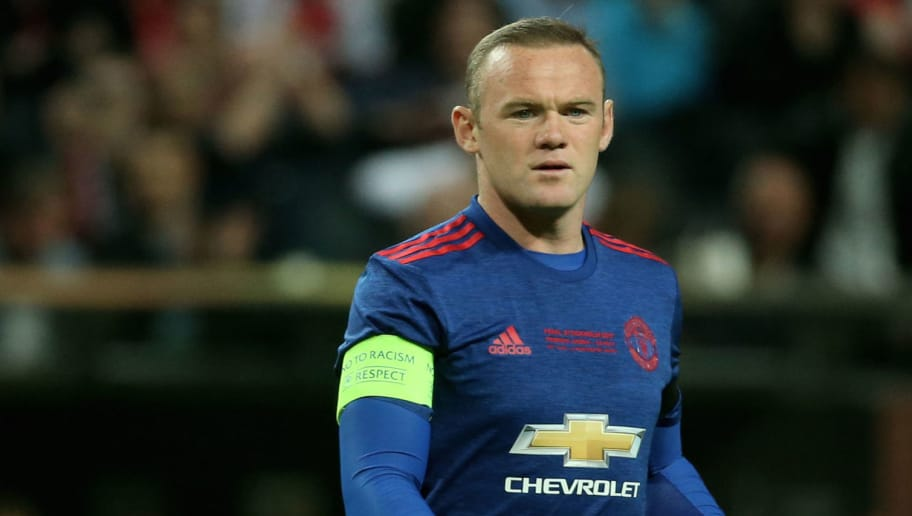 Manchester United's English striker Wayne Rooney (L) comes on the pitch during the UEFA Europa League final football match Ajax Amsterdam v Manchester United on May 24, 2017 at the Friends Arena in Solna outside Stockholm. / AFP PHOTO / Soren Andersson        (Photo credit should read SOREN ANDERSSON/AFP/Getty Images)
