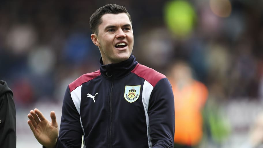 BURNLEY, ENGLAND - MAY 21: Michael Keane at the end of the Premier League match between Burnley and West Ham United at Turf Moor on May 21, 2017 in Burnley, England. (Photo by Mark Robinson/Getty Images)