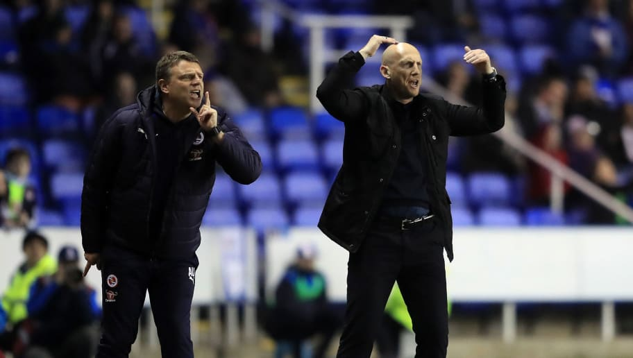 READING, ENGLAND - FEBRUARY 14:  Reading manager Jaap Stam (R) gives instructions during the Sky Bet Championship match between Reading and Brentford at Madejski Stadium on February 14, 2017 in Reading, England.  (Photo by Richard Heathcote/Getty Images)