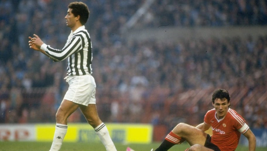 1984  Claudio Gentile (left) of Juventus walks away from Frank Stapleton of  Manchester 58ba6d451d20