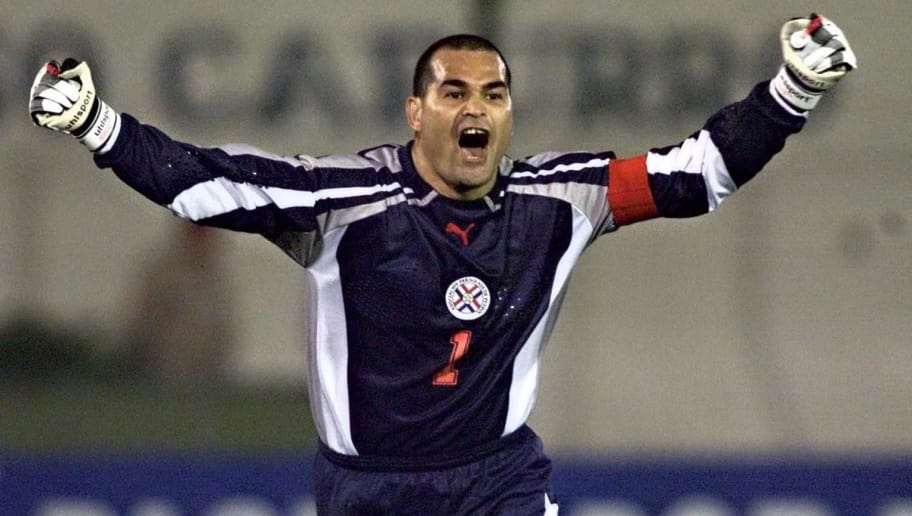 ASUNCI=N, PARAGUAY:  Paraguayan goalie Jose Luis Chilavert celebrates the first goal scored by his team during a Japan-Korea 2002 World Cup qualification match against Peru, 15 November 2000, at the Defensores del Chaco Stadium in Asuncion.  AFP PHOTO / Daniel GARCIA (Photo credit should read DANIEL GARCIA/AFP/Getty Images)