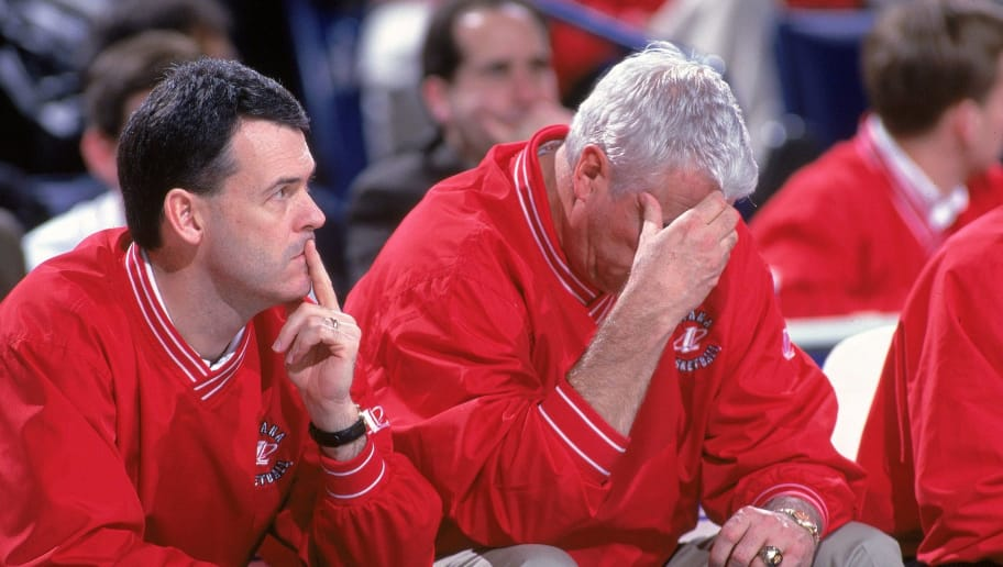 17 Mar 2000: Head Coach Bobby Knight of the Indiana Hoosiers drops his head as he sits on the bench during round one of the NCAA Tournament Game against the Pepperdine Wave at the HSBC Arena in Buffalo, New York. The Wave defeated the Hoosiers 77-57. Mandatory Credit: Rick Stewart  /Allsport