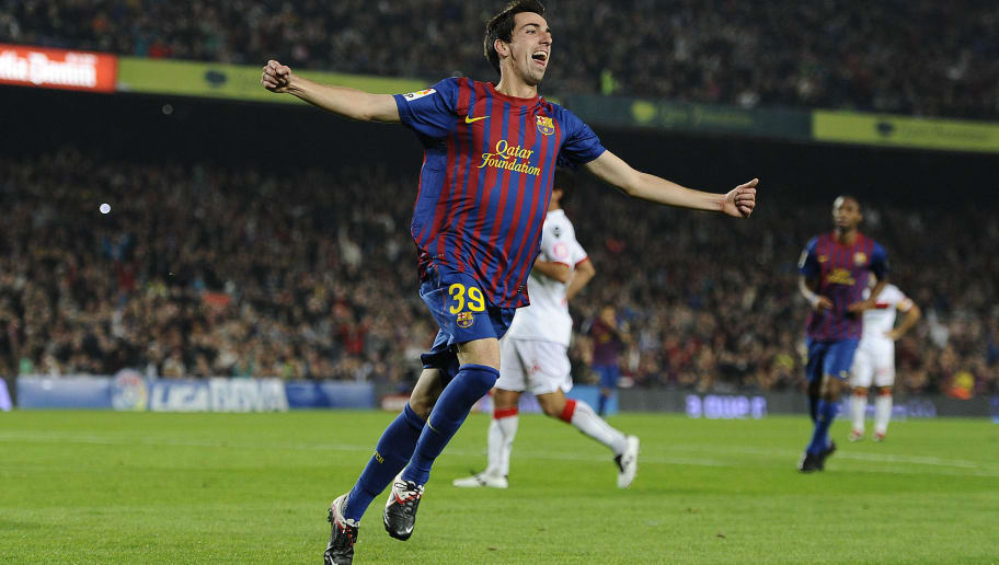 BARCELONA, SPAIN - OCTOBER 29:  Isaac Cuenca of FC Barcelona celebrates after scoring his fourth team's goal during the La Lliga match between FC Barcelona and RCD mallorca at Camp Nou on October 29, 2011 in Barcelona, Spain.  (Photo by David Ramos/Getty Images)