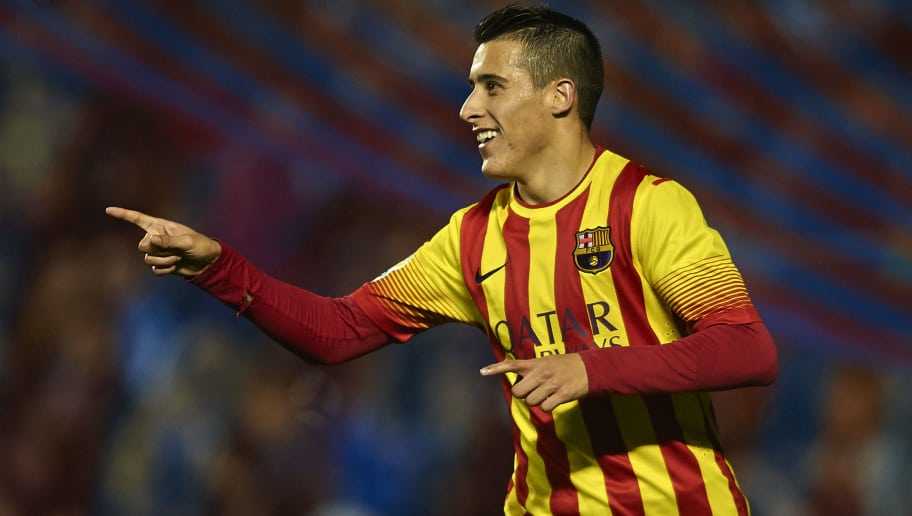 VALENCIA, SPAIN - JANUARY 22:  Cristian Tello of Barcelona celebrates after scoring during the Copa del Rey Quarter Final First Leg match between Levante UD and FC Barcelona at Ciutat de Valencia on January 22, 2014 in Valencia, Spain.  (Photo by Manuel Queimadelos Alonso/Getty Images)